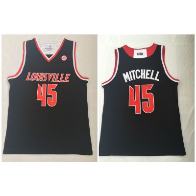 NCAA Louisville Cardinals 45 Donovan Mitchell Black College Basketball Men Jersey