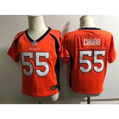 Nike Broncos 55 Bradley Chubb Orange NFL Toddler Jersey