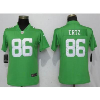 Nike Eagles 86 Zach Ertz Green Vapor Untouchable Limited Women Jersey
