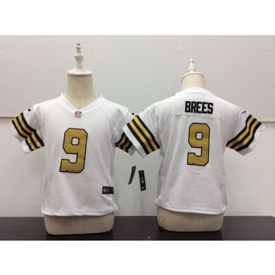 Nike Saints 9 Drew Brees White Color Rush NFL Toddler Jersey