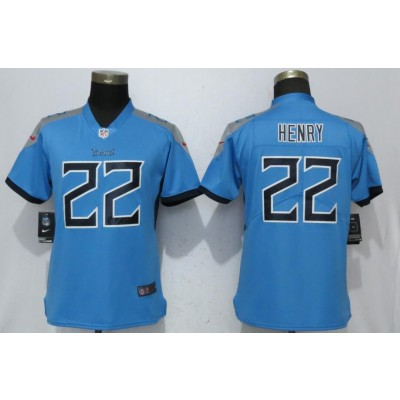 Nike Titans 22 Derrick Henry Light Blue 2018 Vapor Untouchable Limited Women Jersey