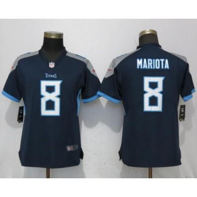 Nike Titans 8 Marcus Mariota Navy 2018 Vapor Untouchable Limited Women Jersey
