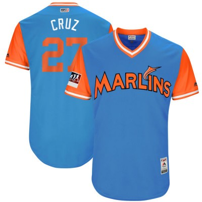 MLB Marlins 27 Giancarlo Stanton Cruz Light Blue 2018 Players' Weekend Authentic Men Jersey