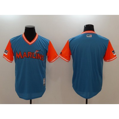 MLB Marlins Light Blue 2018 Players' Weekend Authentic Men Jersey