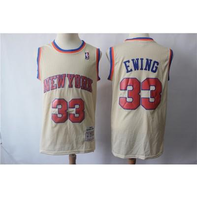 NBA Knicks 33 Patrick Ewing Cream Hardwood Classics Men Jersey