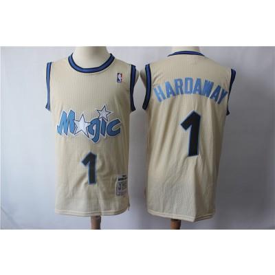 NBA Magic 1 Penny Hardaway Cream Hardwood Classics Men Jersey