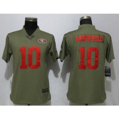 Nike 49ers 10 Jimmy Garoppolo Olive 2017 Salute To Service Limited Women Jersey
