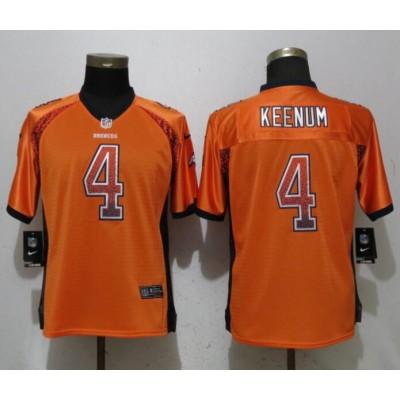 Nike Broncos 4 Case Keenum Orange Drift Fashion Women Jersey
