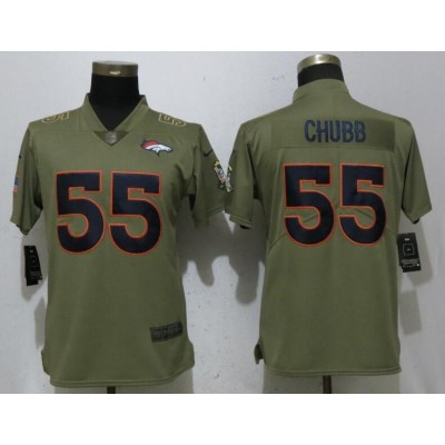 Nike Broncos 55 Bradley Chubb Olive 2017 Salute To Service Limited Women Jersey