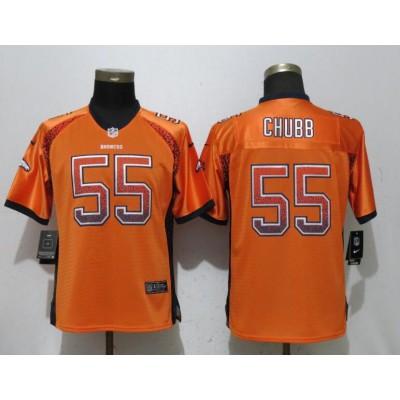 Nike Broncos 55 Bradley Chubb Orange Drift Fashion  Women Jersey