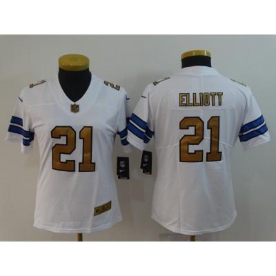 Nike Cowboys 21 Ezekiel Elliott White Gold Vapor Untouchable Limited Women Jersey