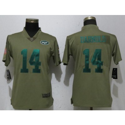 Nike Jets 14 Sam Darnold Olive 2017 Salute To Service Limited Women Jersey