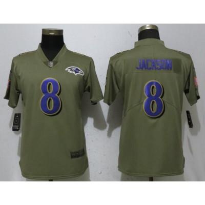 Nike Ravens 8 Lamar Jackson Olive 2017 Salute To Service Limited  Women Jersey