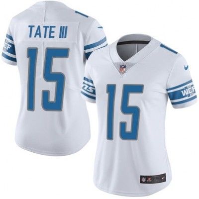 Nike Detroit Lions 15 Golden Tate III White Vapor Untouchable Limited Women Jersey