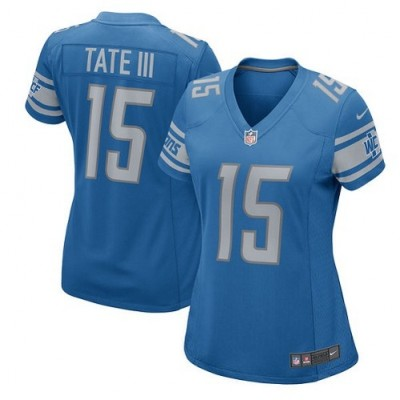 Nike Detroit Lions 15 Golden Tate III Game Blue Team Color Women Jersey