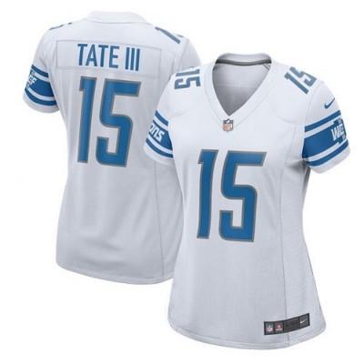 Nike Detroit Lions 15 Golden Tate III Game White Women Jersey