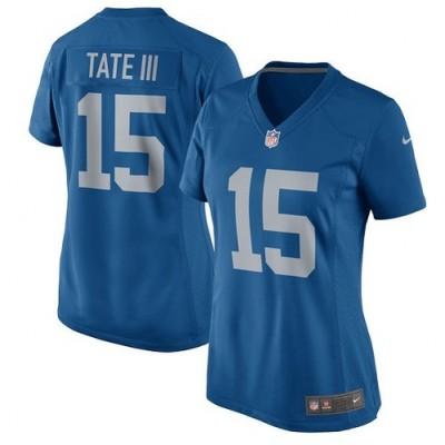 Nike Detroit Lions 15 Golden Tate III Game Navy Blue Women Jersey