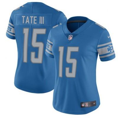 Nike Detroit Lions 15 Golden Tate III Blue Team Color Vapor Untouchable Limited Women Jersey