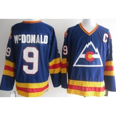 NHL Colorado Rockies 9 Lanny Mcdonald  Blue Throwback CCM Men Jersey