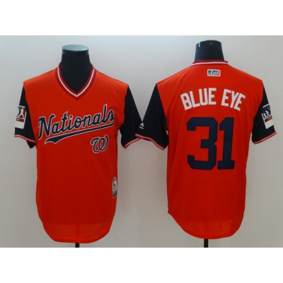 MLB Nationals 31 Max Scherzer Blue Eye Red 2018 Players' Weekend Men Jersey