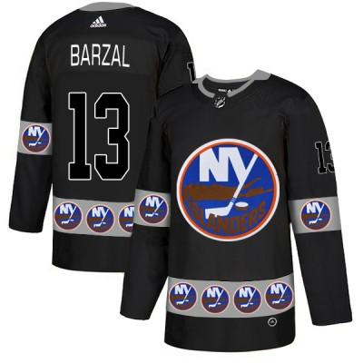 NHL Islanders 13 Mathew Barzal Black Team Logos Fashion Adidas Men Jersey