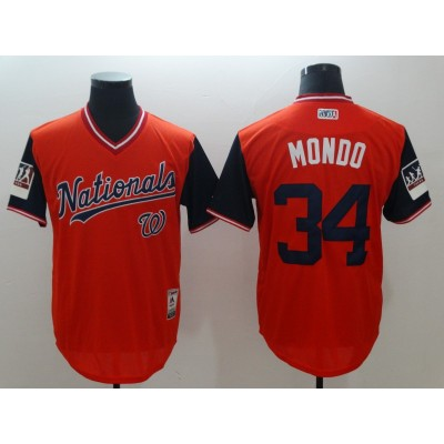 MLB Nationals 34 Bryce Harper Mondo Red 2018 Players' Weekend Men Jersey