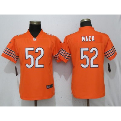 Nike Bears 52 Khalil Mack Orange Vapor Untouchable Limited Women Jersey