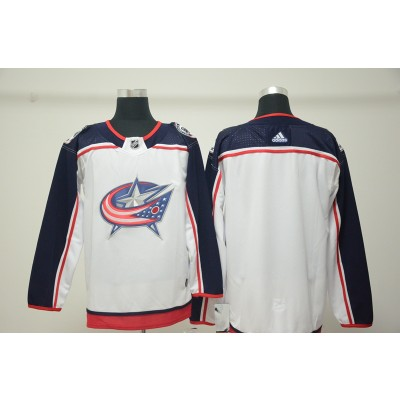 NHL Blue Jackets Blank White Adidas Men Jersey