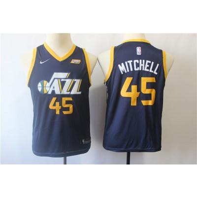 NBA Nike Jazz 45 Donovan Mitchell Navy Blue Youth Jersey