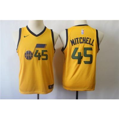 NBA Nike Jazz 45 Donovan Mitchell Yellow Youth Jersey