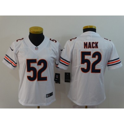 Nike Bears 52 Khalil Mack White Vapor Untouchable Limited Women Jersey