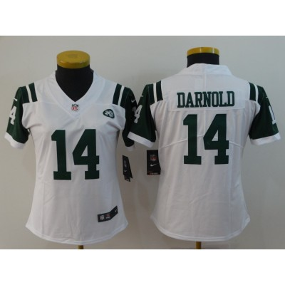 Nike Jets 14 Sam Darnold White Vapor Untouchable Limited Women Jersey