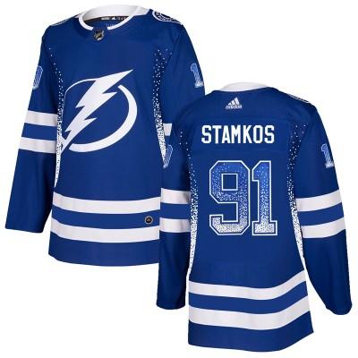 NHL Lightning 91 Steven Stamkos Blue Drift Fashion Adidas Men Jersey