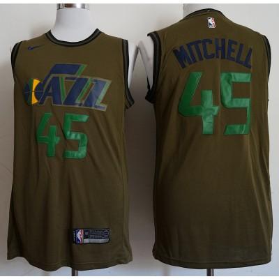 NBA Jazz 45 Donovan Mitchell Olive Nike Swingman Men Jersey