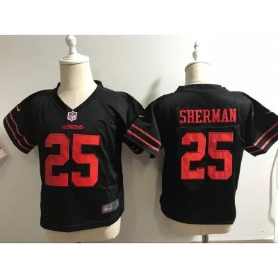 Nike 49ers 25 Richard Sherman NFL Black Toddler Jersey