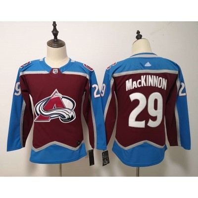 NHL Avalanche 29 Nathan MacKinnon Burgundy Adidas Women Jersey