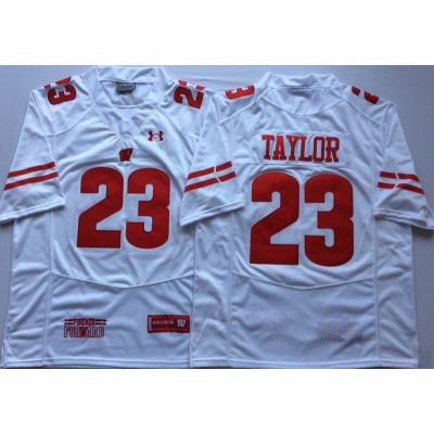 NCAA Wisconsin Badgers 23 Jonathan Taylor White Men Jersey