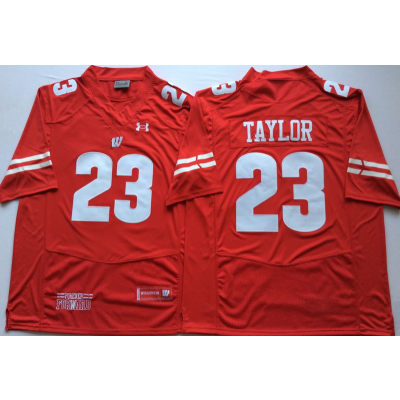 NCAA Wisconsin Badgers 23 Jonathan Taylor Red Football Men Jersey