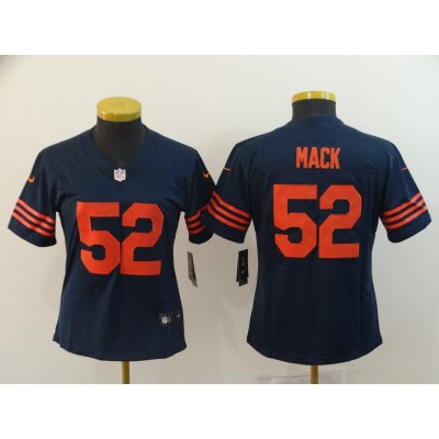 Nike Bears 52 Khalil Mack Vapor Untouchable Navy With Orange Number Limited Women Jersey