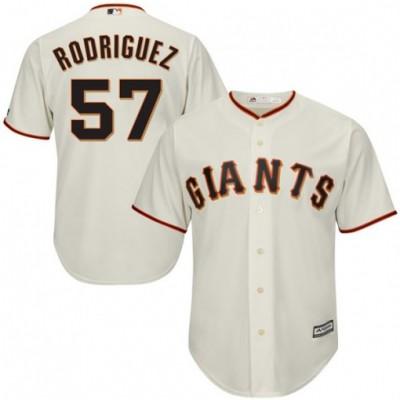 MLB Giants 57 Derek Rodriguez Cream Cool Base Men Jersey