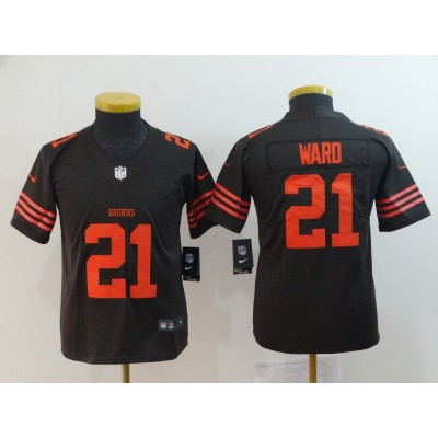 Nike Browns 21 Denzel Ward Brown Color Rush Limited Youth Jersey