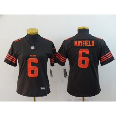 Nike Browns 6 Baker Mayfield Brown Color Rush Limited Women Jersey