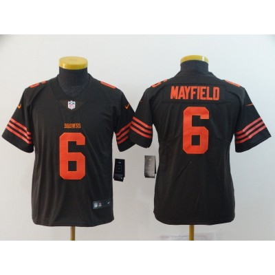 Nike Browns 6 Baker Mayfield Brown Color Rush Limited Youth Jersey