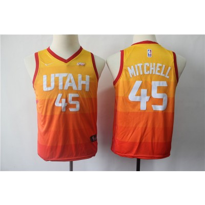 NBA Jazz 45 Donovan Mitchell City Edition Red Gold Youth Jersey