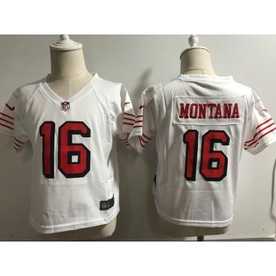 Nike 49ers 16 Joe Montana White Throwback Toddler Jersey