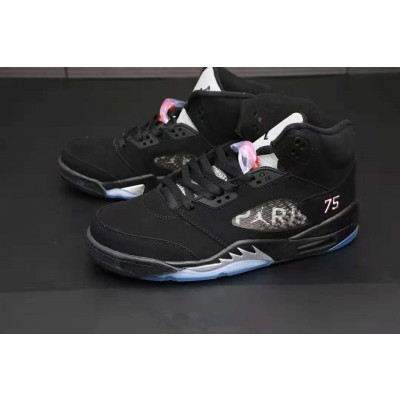 Air Jordan 5 Paris Black White Tongue Shoes
