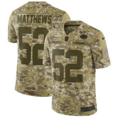 Nike Packers 52 Clay Matthews 2018 Camo Salute to Service Limited Men Jersey