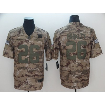 Nike Giants 26 Saquon Barkley 2018 Camo Salute to Service Limited Men Jersey