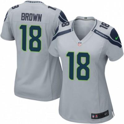 Nike Seahawks 18 Jaron Brown Gray Women Jersey