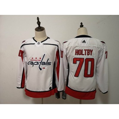 NHL Capitals 70 Braden Holtby White Adidas Youth Jersey